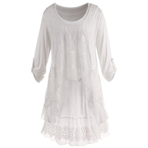 Women's Wispy White Tunic Set - Long Roll-Tab Sleeves Tunic Top & Lace Tank