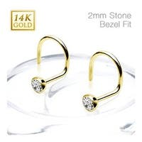 14Kt Solid Yellow Gold Nose Screw Ring with 2mm Bezel Set Clear CZ Ball - 20 GA (2mm Ball) (Sold Ind.)