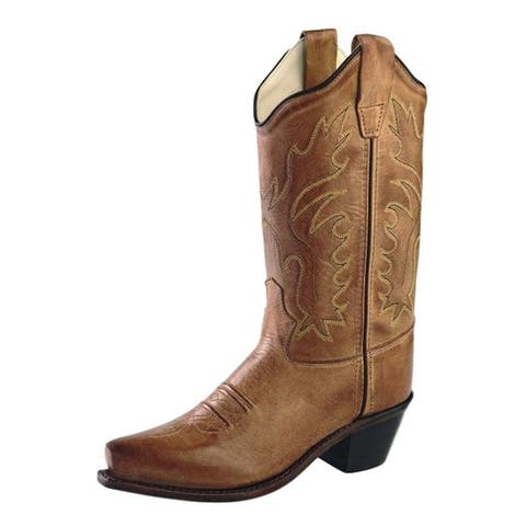 Old West Cowboy Boots Boys Leather J Toe PVC Outsole Tan Canyon