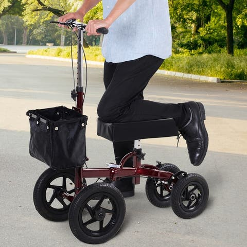 HOMCOM Knee Scooter with Basket Storage, Walker Mobility During Medical Rehabilitation & Injury, Folding for Transport