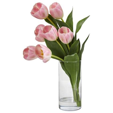 Tulip Artificial Arrangement in Cylinder Vase - Height: 16 In.