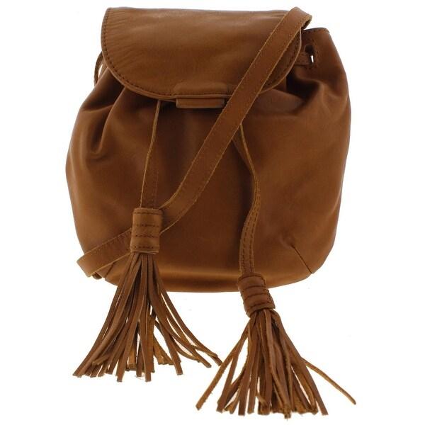 Lucky Brand Womens Jordan Crossbody Handbag Leather Tasseled Small