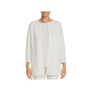 Eileen Fisher Womens Plus Jacket Silk Blend Textured