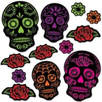 """Club Pack of 144 Halloween Day of the Dead Sugar Skull Cutouts 4""""-15"""" - Black"""
