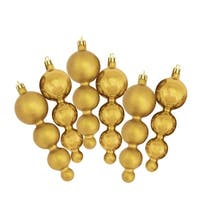 """6ct Vegas Gold Shatterproof Matte and Shiny Christmas Finial Ornaments 5.75"""""""