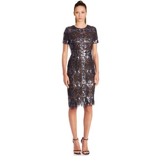 BCBG MaxAzria Samara Sequined Geo Diamond Print Short Sleeve Cocktail Evening Dress - 4