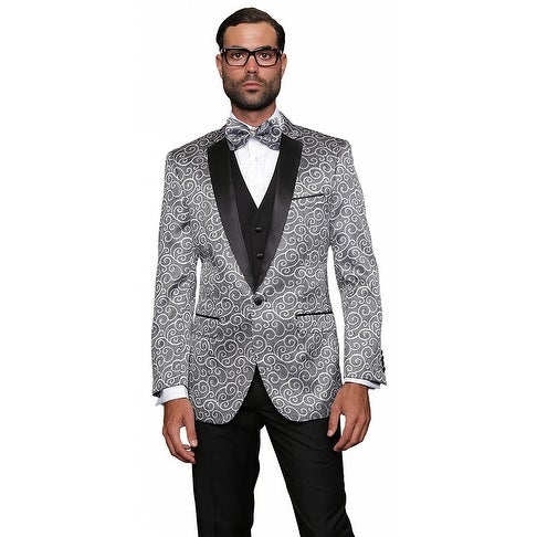 BELLAGIO Men's 3pc SILVER Suit, Modern Fit, 2 Button, 2 Side Vent, solid black Flat Front Pants
