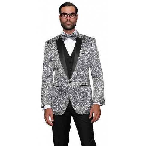 BELLAGIO Men's 3pc SILVER Suit, Modern Fit, 2 Button, 2 Side Vent, solid black Flat Front Pants