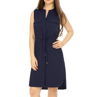 Unique Bargains Women's Sleeveless Chest Pockets Drawstring Above Knee Dress