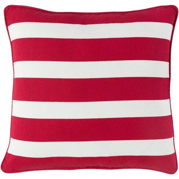 "18"" Red and White Striped Woven Decorative Piping Square Throw Pillow"