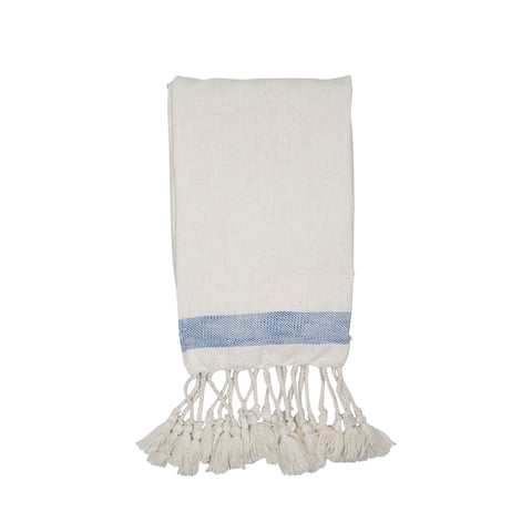 Foreside Home & Garden Cream Hand Woven 50 x 60 inch Cotton Throw Blanket with Hand Tied Tassels