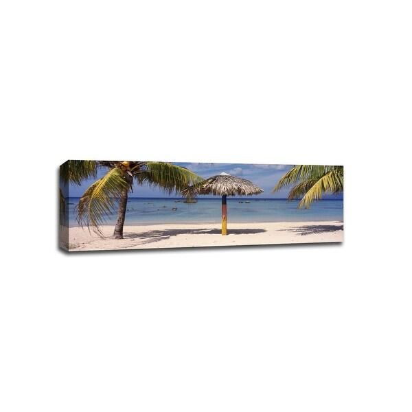 Sunshade on Beach, La Boca Cuba - Beaches - 36x12 Gallery Wrapped Canvas