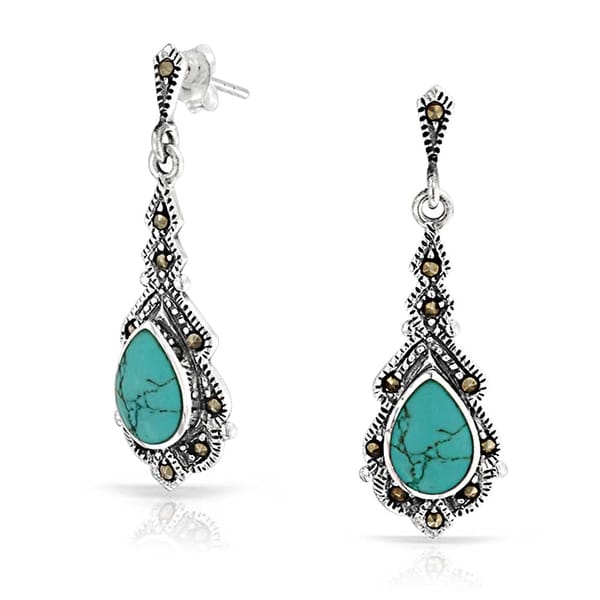 f55505254 Shop Vintage Style Teardrop Compressed Turquoise Marcasite Dangle Earrings  For Women 925 Sterling Silver December Birthstone - On Sale - Free Shipping  On ...