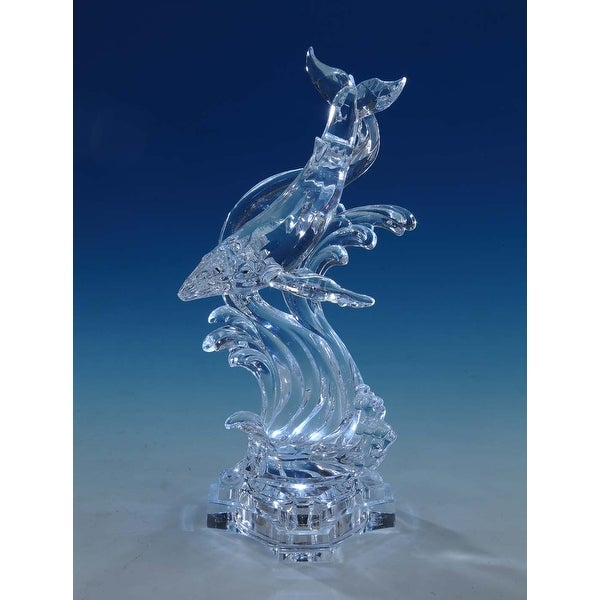 """Set of 2 Clear Whale and Wave Designed Tabletop Decors 11"""" - N/A"""