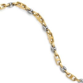 Italian 14k Two-Tone Gold Polished Fancy Link Bracelet - 8.5 inches