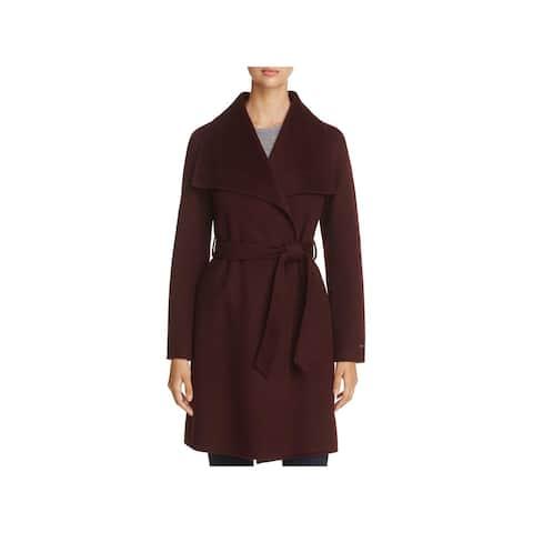 T Tahari Womens Ellie Wrap Coat Wool Belted