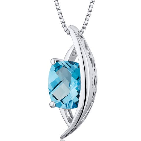 """Natural Swiss Blue Topaz 1.5 Carats Pendant in Sterling Silver, 18"""""""