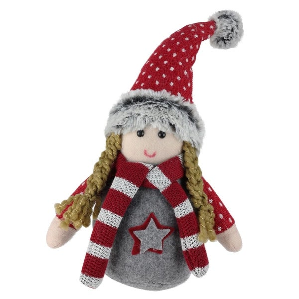 "8"" Rosalind Gnome Red and Grey Table Top Christmas Gnome Decoration"