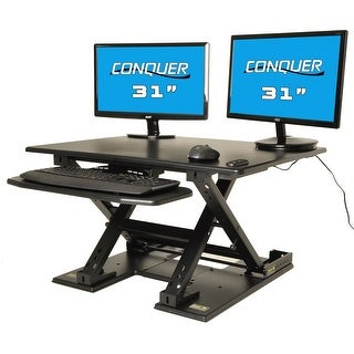 Motorized Standing Desk Electric Sit to Stand Ergonomic Workstation, Fully Automatic Monitor Riser