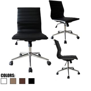 2xhome Black - Executive Eames Style Ergonomic Leather Adjustable Office Computer Desk Task Chair