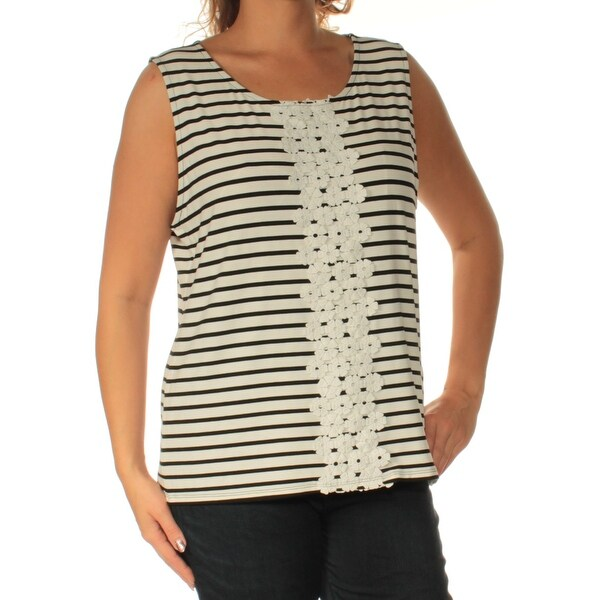 57c6376138c70e Shop TOMMY HILFIGER Womens Black Striped Sleeveless Jewel Neck Top Size  L  - On Sale - Free Shipping On Orders Over  45 - Overstock - 23456168