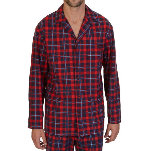 Nautica NEW Red Navy Blue Mens Medium M Fleece Pajama Plaid Nightshirt 95e7d6a38