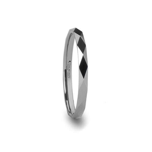 THORSTEN - ATLANTIS Diamond Faceted 2mm Womens Tungsten Ring