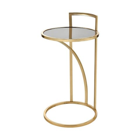 Round Accent Table in Gold Black finish with C-Table Base - Material Glass Metal Gold/Black Finish