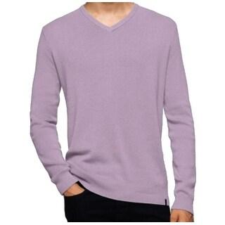 Calvin Klein NEW Purple Mens Size XL Rib-Trim Pullover V-Neck Sweater