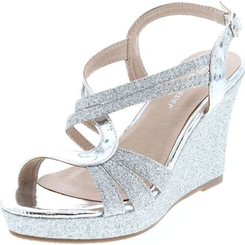 Forever Happy-09 Women's Glitter Strappy Wrapped Wedge Heel Platform Sandals - Silver