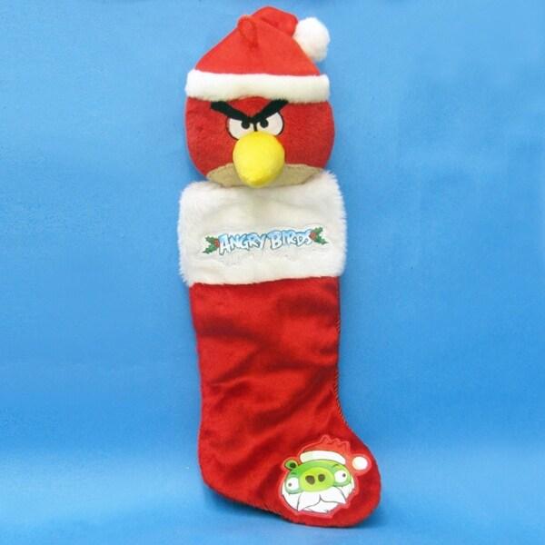 "23"" Angry Birds Red Bird Plush Head Christmas Stocking - WHITE"