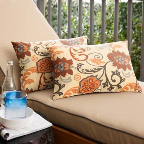 Sunbrella Beige Floral Indoor/Outdoor Knife Edge Pillow (Set of 2)