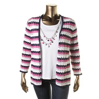 Alfred Dunner Womens Crochet Striped Cardigan Sweater - XL