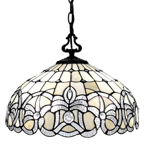 Tiffany Style White Hanging Lamp 16 Inches Wide AM294HL16B Amora Lighting