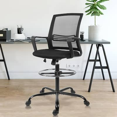 Home Office Drafting Chair Standing Desk Chair - Tall Office Chair Mesh Chair with Adjustable Foot Ring
