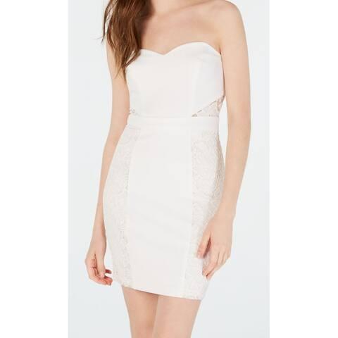 B. Darlin White Ivory Size 6 Junior Sheath Dress Lace Insert Seamed