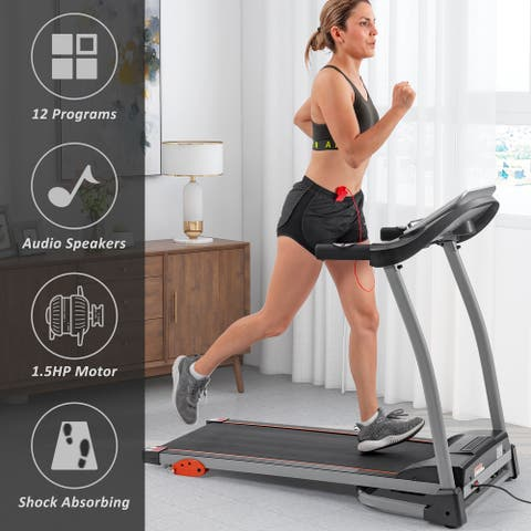 Jogging & Walking Machine with Device Holder & Pulse Senso