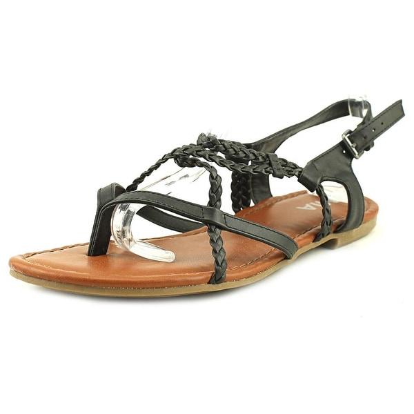 Mia Dannie Women Open Toe Synthetic Black Gladiator Sandal