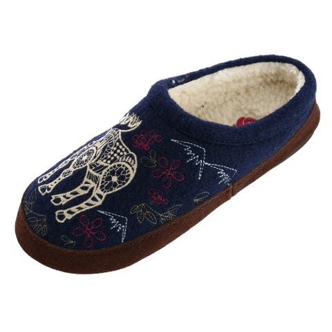 Acorn Women's Boiled Wool Mule Slipper with Embroidered Moose - Navy