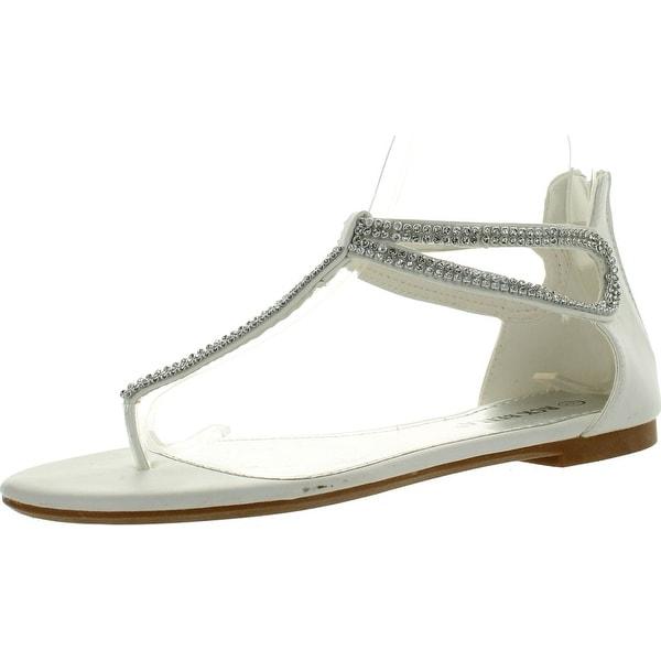 Rck Bella Ario-17 Womens Rhinestone T-Strap Back Zipper Flat Thong Sandals