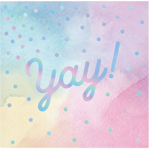 """Club Pack of 192 Pink and Blue 3-Ply """"yay!"""" Printed Beverage Napkins 5"""" - N/A"""