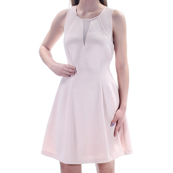 Shop GUESS Womens Pink Pleated Sleeveless Jewel Neck Above The Knee Dress  Size  0 - Free Shipping On Orders Over  45 - Overstock.com - 21240122 ba352b23e