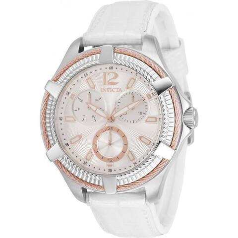 Invicta Women's 30889 'Bolt' White Leather Watch - Rose-Tone
