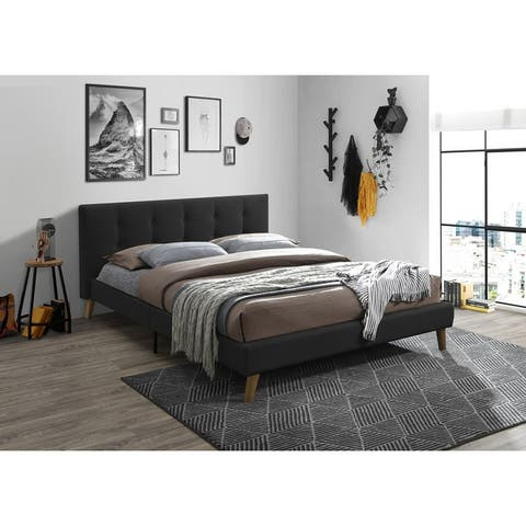 Banda Modern Upholstered Bed Frame with Tufted Headboard (Dark Gray)
