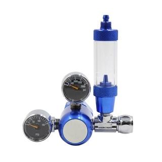 "Aquarium Aluminium Alloy CO2 Dual Gauge Display Regulator w Bubble Counter Blue - 9.3x5.7x7.6cm / 3.66""x2.24""x2.99""(L*W*H)"