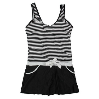 MiYang Womens Striped Waist Tie Swimdress - L