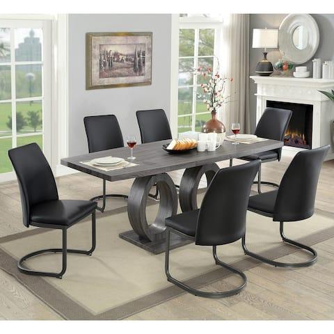 Furniture of America Chano Contemporary 7-piece Pedestal Dining Set