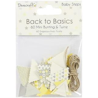 Dovecraft Back To Basics Mini Bunting & Twine 60/Pkg-Baby Steps