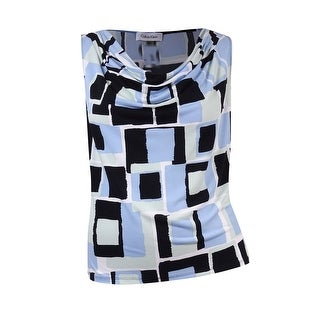 Calvin Klein Women's Plus-Size Cowl Geo-Print Jersey Top