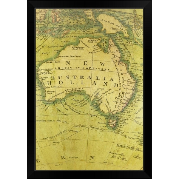 """""""Map of Australia"""" Black Framed Print"""